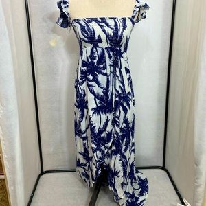 Aakaa palm Tree off Shoulder dress slit in front S